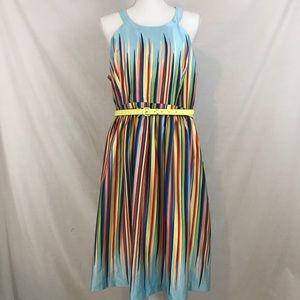 ModCloth Rainbow Stripe Dress Yellow Belt Pockets